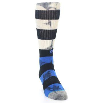Image of Black Blue Cream Stripe Men's Casual Socks (side-1-front-03)