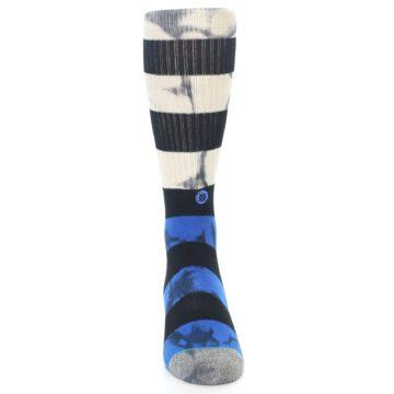 Image of Black Blue Cream Stripe Men's Casual Socks (front-04)