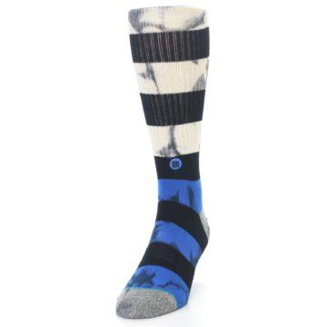 Image of Black Blue Cream Stripe Men's Casual Socks (side-2-front-06)