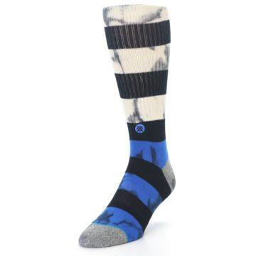Image of Black Blue Cream Stripe Men's Casual Socks (side-2-front-07)