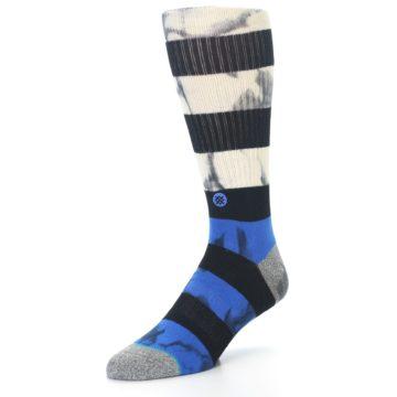Image of Black Blue Cream Stripe Men's Casual Socks (side-2-front-08)