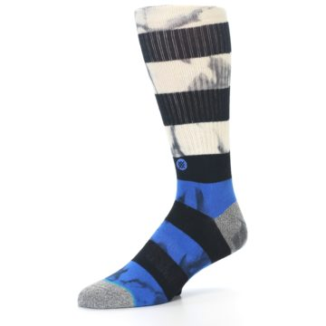 Image of Black Blue Cream Stripe Men's Casual Socks (side-2-09)