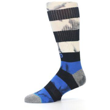 Image of Black Blue Cream Stripe Men's Casual Socks (side-2-10)