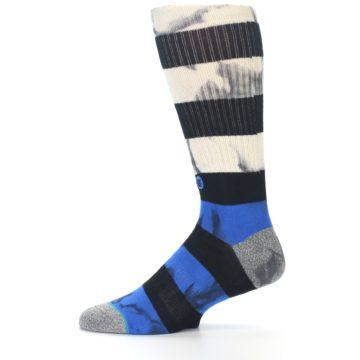 Image of Black Blue Cream Stripe Men's Casual Socks (side-2-11)