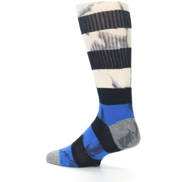 Image of Black Blue Cream Stripe Men's Casual Socks (side-2-13)