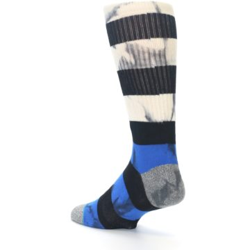 Image of Black Blue Cream Stripe Men's Casual Socks (side-2-back-14)
