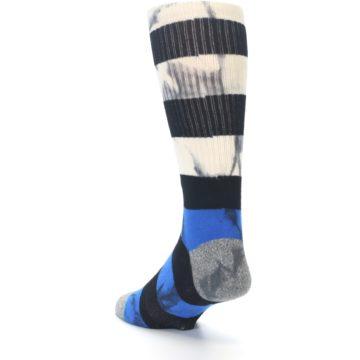 Image of Black Blue Cream Stripe Men's Casual Socks (side-2-back-15)