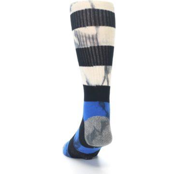 Image of Black Blue Cream Stripe Men's Casual Socks (side-2-back-16)