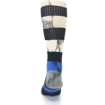Image of Black Blue Cream Stripe Men's Casual Socks (back-17)