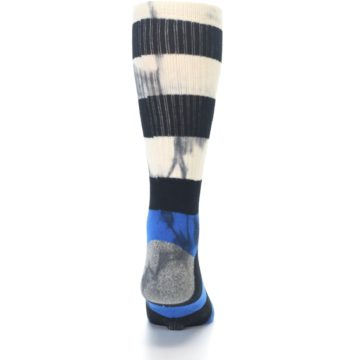 Image of Black Blue Cream Stripe Men's Casual Socks (back-18)