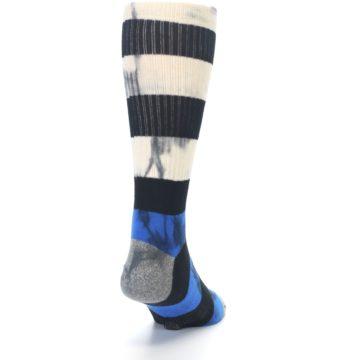 Image of Black Blue Cream Stripe Men's Casual Socks (back-19)