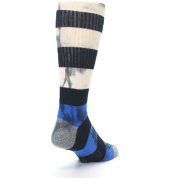Image of Black Blue Cream Stripe Men's Casual Socks (side-1-back-20)