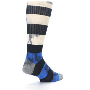 Image of Black Blue Cream Stripe Men's Casual Socks (side-1-back-21)