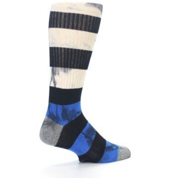 Image of Black Blue Cream Stripe Men's Casual Socks (side-1-back-22)