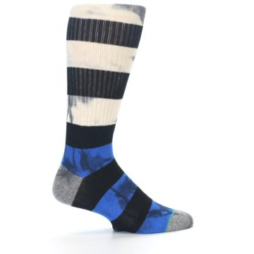 Image of Black Blue Cream Stripe Men's Casual Socks (side-1-23)