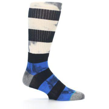 Image of Black Blue Cream Stripe Men's Casual Socks (side-1-24)