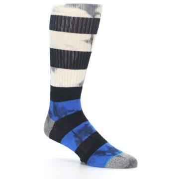 Image of Black Blue Cream Stripe Men's Casual Socks (side-1-26)