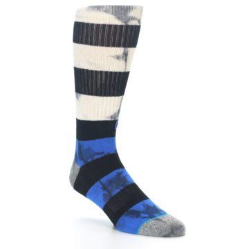 Image of Black Blue Cream Stripe Men's Casual Socks (side-1-27)