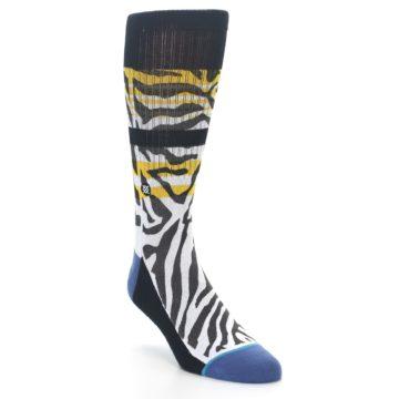 Image of Black White Zebra Stripe Men's Casual Socks (side-1-front-02)