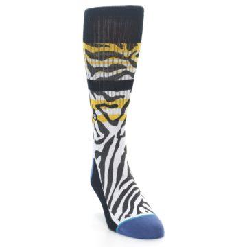 Image of Black White Zebra Stripe Men's Casual Socks (side-1-front-03)