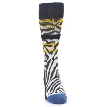 Image of Black White Zebra Stripe Men's Casual Socks (front-04)