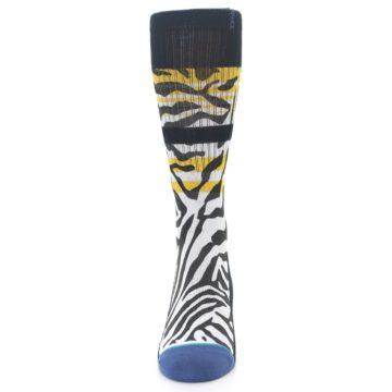 Image of Black White Zebra Stripe Men's Casual Socks (front-05)