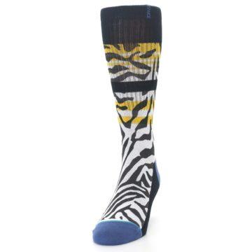 Image of Black White Zebra Stripe Men's Casual Socks (side-2-front-06)