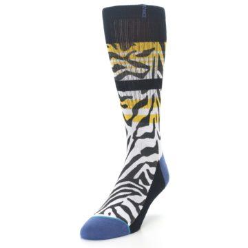Image of Black White Zebra Stripe Men's Casual Socks (side-2-front-07)