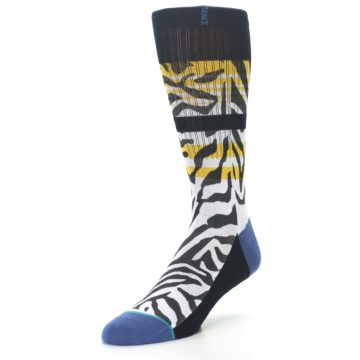 Image of Black White Zebra Stripe Men's Casual Socks (side-2-front-08)