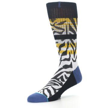 Image of Black White Zebra Stripe Men's Casual Socks (side-2-09)