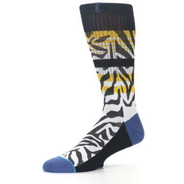 Image of Black White Zebra Stripe Men's Casual Socks (side-2-10)