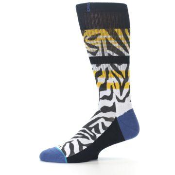 Image of Black White Zebra Stripe Men's Casual Socks (side-2-11)