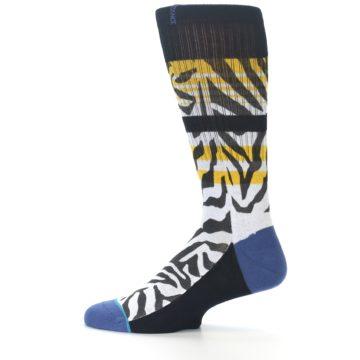 Image of Black White Zebra Stripe Men's Casual Socks (side-2-12)