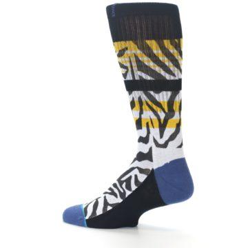 Image of Black White Zebra Stripe Men's Casual Socks (side-2-13)