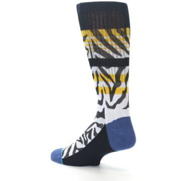 Image of Black White Zebra Stripe Men's Casual Socks (side-2-back-14)