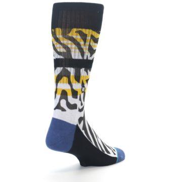 Image of Black White Zebra Stripe Men's Casual Socks (side-1-back-21)