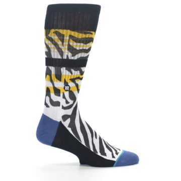 Image of Black White Zebra Stripe Men's Casual Socks (side-1-24)