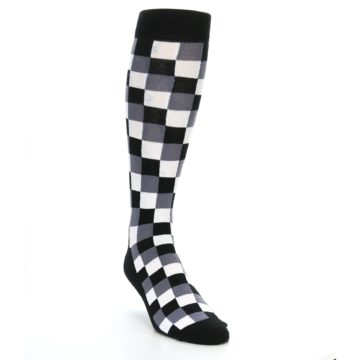 Image of Black White Checker Men's Over-the-Calf Dress Socks (side-1-front-02)
