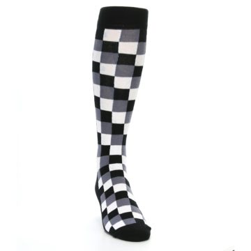 Image of Black White Checker Men's Over-the-Calf Dress Socks (side-1-front-03)