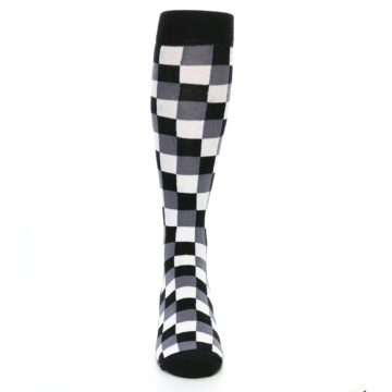 Image of Black White Checker Men's Over-the-Calf Dress Socks (front-04)