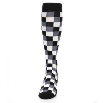 Image of Black White Checker Men's Over-the-Calf Dress Socks (front-05)