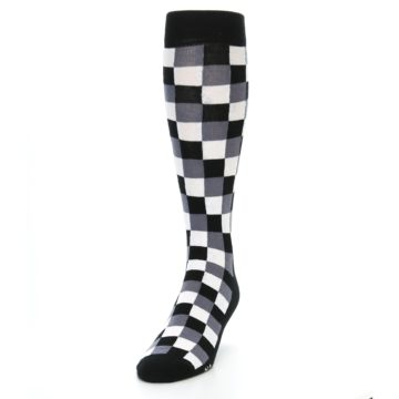 Image of Black White Checker Men's Over-the-Calf Dress Socks (side-2-front-06)