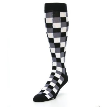 Image of Black White Checker Men's Over-the-Calf Dress Socks (side-2-front-07)