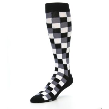 Image of Black White Checker Men's Over-the-Calf Dress Socks (side-2-front-08)