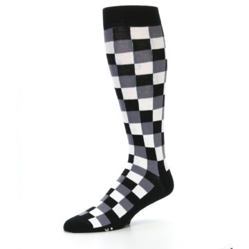 Image of Black White Checker Men's Over-the-Calf Dress Socks (side-2-09)