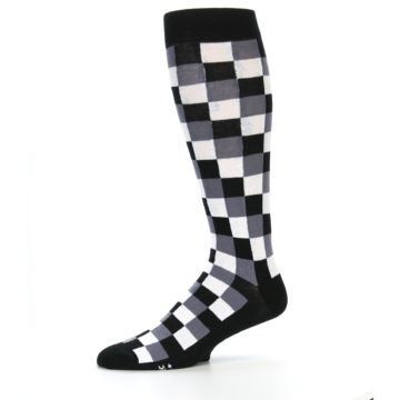 Image of Black White Checker Men's Over-the-Calf Dress Socks (side-2-10)