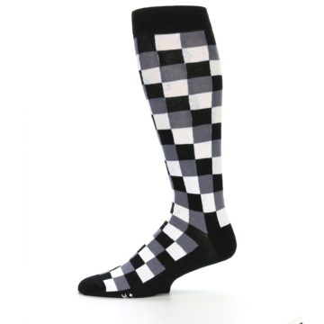 Image of Black White Checker Men's Over-the-Calf Dress Socks (side-2-11)