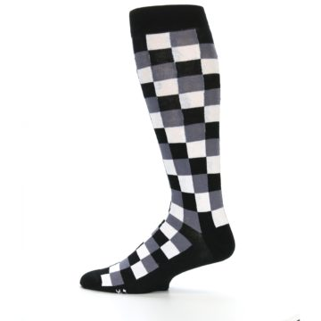 Image of Black White Checker Men's Over-the-Calf Dress Socks (side-2-12)