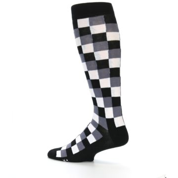 Image of Black White Checker Men's Over-the-Calf Dress Socks (side-2-13)
