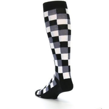 Image of Black White Checker Men's Over-the-Calf Dress Socks (side-2-back-15)